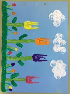 Fork Print Tulips on Blue Paper Gabeldruck Tulpen auf blauem Papier Autism Crafts, Spring Crafts For Kids, Daycare Crafts, Easter Crafts For Kids, Art For Kids, Toddler Art, Toddler Crafts, Crafts Toddlers, Mothers Day Flower Pot