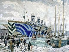 "Arthur Lismer: ""Olympic with Returned Soldiers""  1919. The Olympic, seen here docked in Halifax, was a sister ship of the Titanic. Its hull shows the dazzle-painting technique, a form of camouflage."