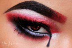 Harley Quinn inspired eye makeup