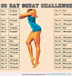 30 day squat challenge: My knees were crickity crackety! Day one ... done... one day at a time... should be interesting when it gets to the 250 day haha