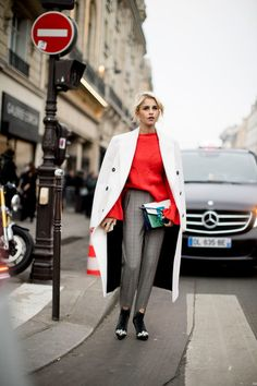 A Red Sweater and Stirrups - Here's What Guests Wore to the Couture Shows in Paris - Photos