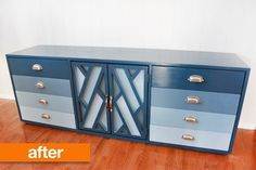 Before & After: From Beige to Bold! Amazing after pic of a thrift store credenza. I would love to have a bold buffet!