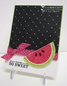 "Stampin' Up! ""Mouthwatering"" stamp set, melon scented embossing powder"