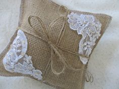 Burlap and Lace Decorative or Ring Bearer Pillow with Rosette... Rustic and Elegant...Wedding.... $14.00, via Etsy.