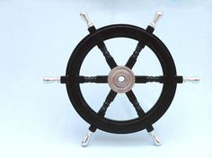 "Wood and Brass Ships Wheel - 24"" Beach Decor 