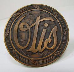 Old Bronze OTIS Elevator Sign architectural equipment nameplate advertising sign…