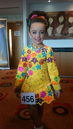 Amazing Yellow Siopa Rince Irish Dance Dress Solo Costume For Sale