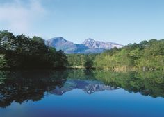 五色沼の名所に出会える。神秘的な沼に映る磐梯山。