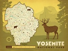 Yosemite National Park Map Print Vintage Maps Yosemite National - Yosemite national park on us map