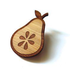 Fresh Pear - Bamboo - Wood Brooch - Wood Pin - Laser Cut by Cabin on Etsy https://www.etsy.com/listing/157017544/fresh-pear-bamboo-wood-brooch-wood-pin