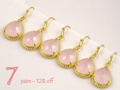 Pink Wedding Jewelry Set of 7 12% Off, Bridesmaid Gift Set, Blush Wedding, Drop Earrings, Maid of Honor Gift for Bridesmaids Earrings