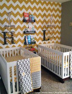 Large Chevron Stencil Pattern on Nursery Feature Wall | Royal Design Studio