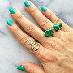 Janna Conner Malachite and Snake rings