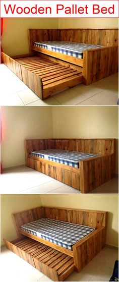 Wooden Pallet Furniture wooden-pallet-bed - I know this always proves to be a pretty source of attraction and a satisfaction whenever we talk about the recycling of such comprehensive projects. Wooden Pallet Projects, Wooden Pallet Furniture, Pallet Crafts, Diy Furniture Projects, Wooden Pallets, Pallet Sofa, Garden Furniture, Pallet Tables, Pallet Day Beds