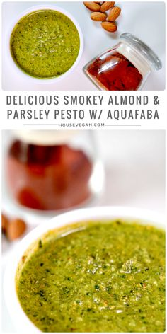 Delicious Smokey Almond and Parsley Pesto w/ Aquafaba - Looking for an oil-free pesto? This alternative to the usual basil pesto is perfect for vegan pasta dishes, Italian veggies burgers, or dairy-free pizza. Click here for the recipes or save this pin for later <3