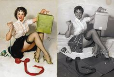 10 Pinup Girls Paintings with Original Photographs