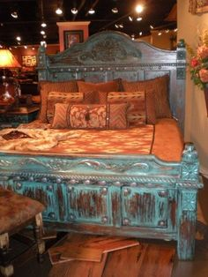 Turquoise Bed...Love it.