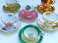 Set of 15/ Mix and Match Vintage Tea Cup Sets/ Bridal Shower/Baby Shower/Hostess Gift/Treasury List/Wedding Registry