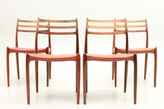 Set of 4 side chairs in rosewood and original leather. Model 78 designed by N.O.Møller and manufactured by J.L.Møllers Stolefabrik, Denmark. www.reModern.dk