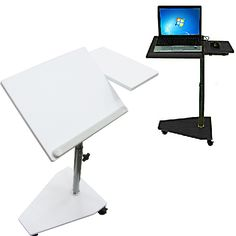 Rolling Over Bed Adjustable Laptop Table TV Food Tray B W UPS Shipping New    EBay