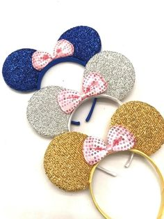 3 Minnie Mouse Gold Silver Bow-Mickey Mouse Ears Headband Disney adult/kid #ladyj Minnie Mouse Headband, Diy Disney Ears, Mickey Mouse Ears Headband, Mickey Mouse Head, Disney Diy, Minnie Mouse Clubhouse, Minnie Mouse Balloons, Minnie Mouse Pink, Mickey Minnie Mouse