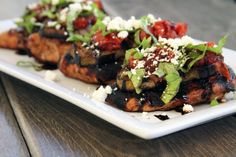 Chicken with Grilled Eggplant,Tomato, and Feta