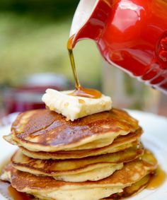 "Send your kids off to school with a protein and fiber packed breakfast that will stick to their ribs. My Paleo coconut flour pancakes are light, fluffy, and taste just like ""REAL"" pancakes! www.healthnutnation.com"