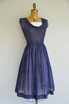50s vintage dress / 1950s navy blue lace by simplicityisbliss, $168.00