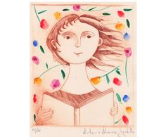Fine Art Etching Print. The reader by Tarlatana on Etsy