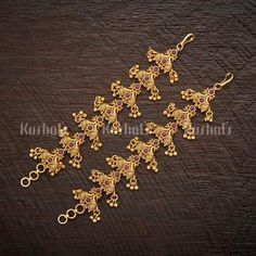 Designer Antique matils studded with Synthetic Stones and Beads,plated with gold polish! Gold Ring Designs, Gold Bangles Design, Gold Jewellery Design, Jewelry Design Earrings, Gold Earrings Designs, Ruby Jewelry, Jewelry Box, Jewelry Necklaces, Gold Temple Jewellery