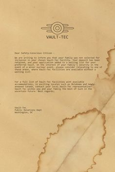 letter from vault tec by emptysamurai (print image)