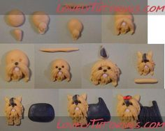 Super cake fondant tutorial step by step fimo ideas Polymer Clay Animals, Fimo Clay, Polymer Clay Crafts, Polymer Clay Creations, Fondant Dog, Fondant Animals, Fondant Cakes, Fondant Figures, Clay Figures