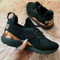 New Puma Women's Muse Metallic Sneakers Puma Sneakers, Girls Sneakers, Adidas Shoes, Sneakers Fashion, Fashion Shoes, Fashion Slippers, New Sneakers, Fashion Outfits, Black Puma Shoes