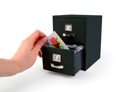 Kikkerland Design Inc » Products » Mini Filing Cabinet + Black