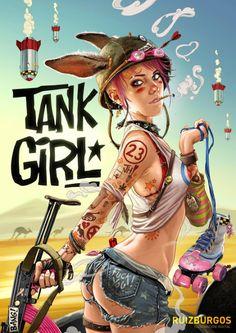 redskullsmadhouse: Tank Girl by Ruiz Burgos - Gothabilly Kitty Arte Dc Comics, Bd Comics, Comics Girls, Jamie Hewlett, Girl Cartoon, Cartoon Art, Tank Girl Cosplay, Tank Girl Comic, Manga Sexy
