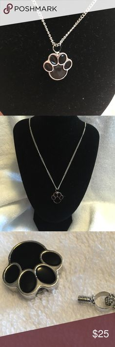 """Pet urn paw pendant 24"""" inch chain. Shown sitting higher on display. On average, hangs down between bust. Jewelry Necklaces"""