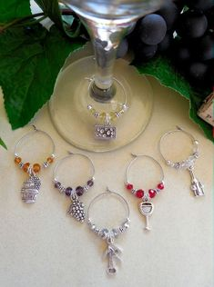 Good Food Good Wine Good Friends & Good Times 6 Wine Glass Charms Gift Packaged #Handcrafted