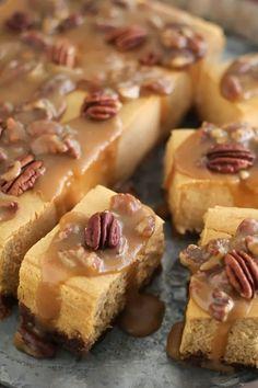 Sweet Potato Pecan Praline Cheesecake Bars.Thanksgiving dessert bar.