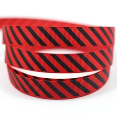 Midi Ribbon Christmas Decorate Black Stripe Print Ribbon 5/8' 16mm Wide 10 Yards/Pack-Poppy Red Color-Winter Christmas Hair Bows Hair Clip DIY Crafts For Gift Home Party * Want additional info? Click on the image.