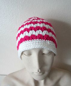 Hot Pink and White Ponytail Hat Crochet Pony by TissysTreasures