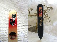 Crystal Nail File Swarovski Black Glass Nail File Painted Cat