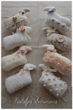 Купить Овечки винтажные, шебби-шик, талисман 2015 года, символ года - овечка, овца
