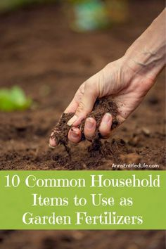 10 common household items to use as garden fertilizer will add needed nutrients to your soil for pennies (or less). Turn your household wastes, simple kitchen products, and excess leaves into nutrient rich soil. These common household products make great additives to your soil and help to produce some amazing flowers and vegetables in your home garden.