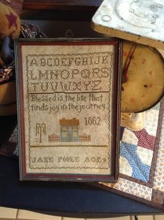 Primitive Early Style JANE POOLE Sampler Repro. $54.00, via Etsy. Primitive Christmas Decorating, Crow Bird, Primitive Stitchery, Sew Simple, Cross Stitch Samplers, Heirloom Sewing, Crossstitch, Needlework, Stitches