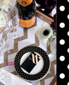 chevron placemat + polka dot plate