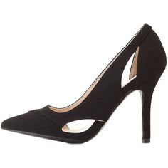Qupid Cut-Out Pointed Toe Pumps ($36) ❤ liked on Polyvore featuring shoes, pumps, black, pointed toe stiletto pumps, qupid shoes, pointed toe high heels stilettos, pointed toe stilettos and pointy toe stiletto pumps