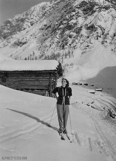 Vintage ski fashion: European elegance.