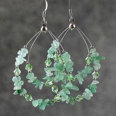 Verde Jade gran lágrima pendientes de aro de damas de honor regalos EEUU Envío Gratis Anni hecho a mano Diseños