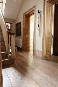wide plank hardwood floor entryway