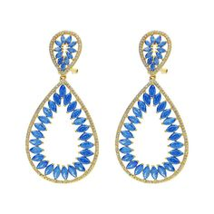 """Fronay Collection 18k Gold PL Silver Blue & White CZ Marquise Earrings, 2.5"""""""